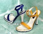 colored sandals in yellow and blue